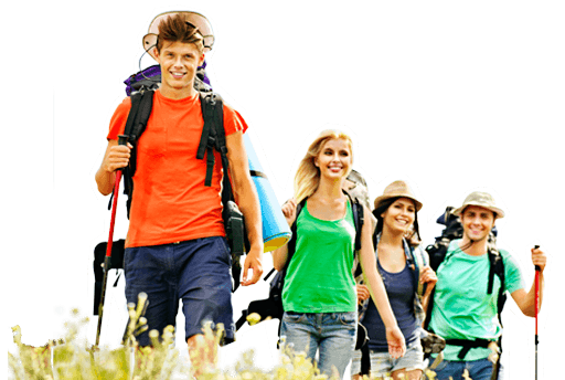 Jugendliche im Erzgebirge auf Wanderung